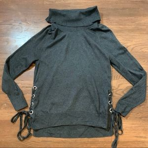 Michael Kors Turtleneck Sweater Lace Up Sides Gray
